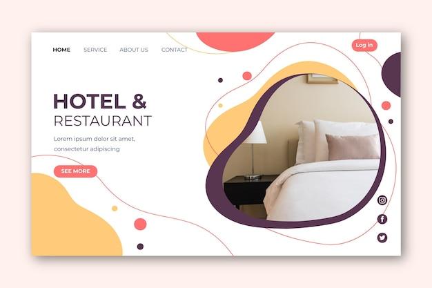 사진이 포함 된 호텔 방문 페이지 템플릿