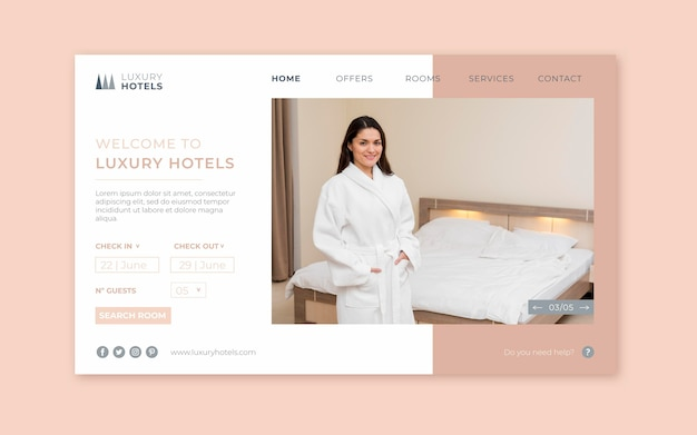 Шаблон целевой страницы отеля с фото