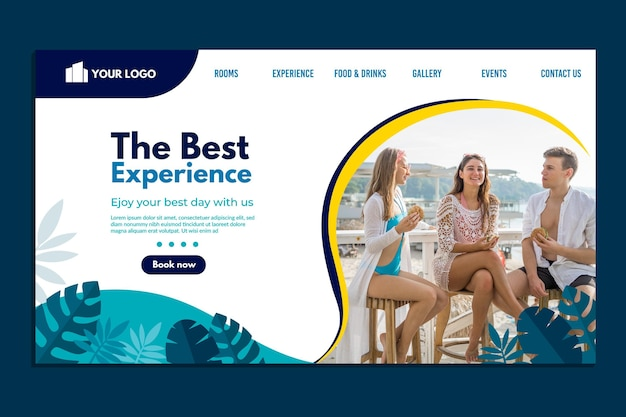 Hotel landing page with photo