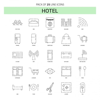 Hotel line icon set - 25 dashed outline style