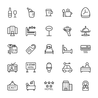 Hotel line icons