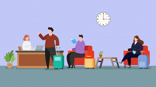 Hotel lobby receptionist and guest sitting flat illustration