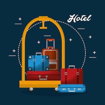 Hotel luggage trolley pile suitcases travel