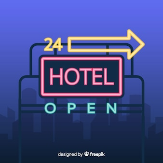 Hotel neon sign background