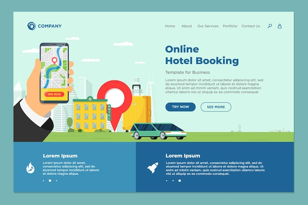 Hotel online booking service for vacation tourism landing page template. travel apartment transport reservation web design. motel suitcase and location pin and hand holding smartphone eps illustration
