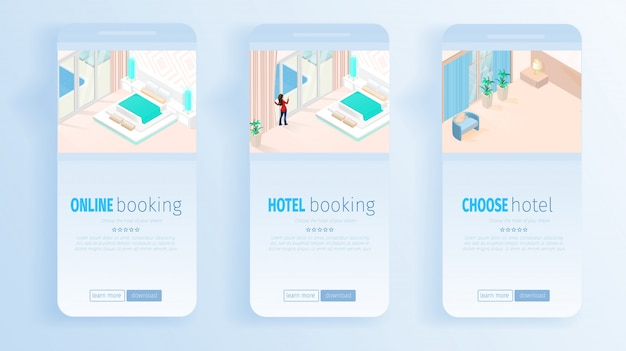 Hotel online booking services for vacation banners