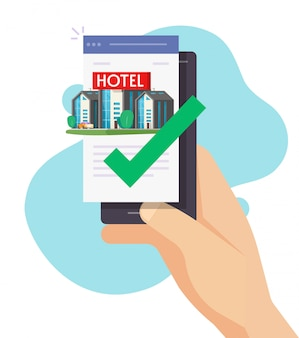 Hotel online booking via mobile phone app or person reserve motel apartment on internet