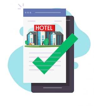 Hotel online booking via mobile phone app or smartphone cellphone reservation motel apartment
