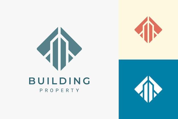 Логотип отеля или квартиры в роскошной и абстрактной форме здания