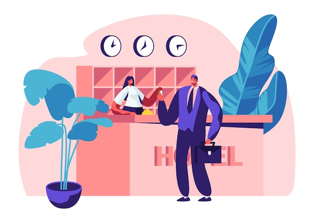 Hotel reception concept illustration. female manager, receptionist character behind desk give room key to businessman guest at hall.