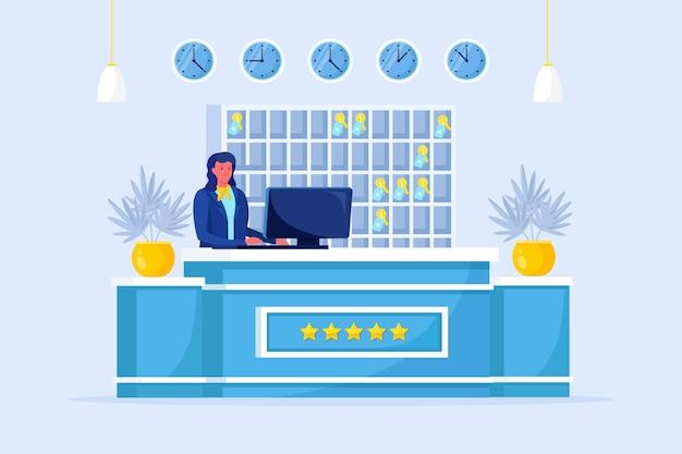 Интерьер стойки регистрации гостиницы с портье. вестибюль хостела с персоналом. концепция услуг размещения