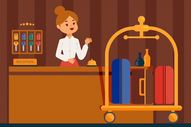 Hotel reception desk. professional woman receptionist in hotel lobby, flat style cartoon character. friendly administrator in uniform holding room key
