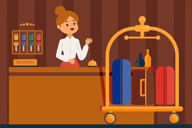 Стойка регистрации отеля. профессиональная женщина портье в лобби отеля, плоский стиль мультипликационный персонаж. дружелюбный администратор в форме ключ от комнаты