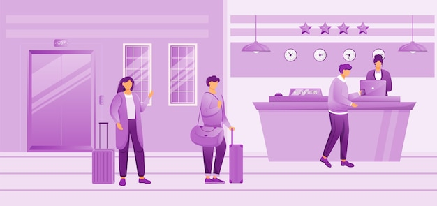Hotel reception flat illustration. people with baggage waiting for check in. receptionist at front desk registrating guests in lobby. tourists with suitcases cartoon characters
