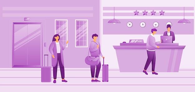 호텔 리셉션 평면 그림입니다. 체크인을 기다리는 수하물을 가진 사람들. 프런트 데스크에서 접수가 로비에서 손님을 등록합니다. 여행 가방 만화 캐릭터와 관광객