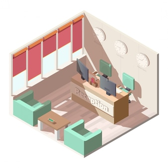 Hotel reception hall interior isometric vector