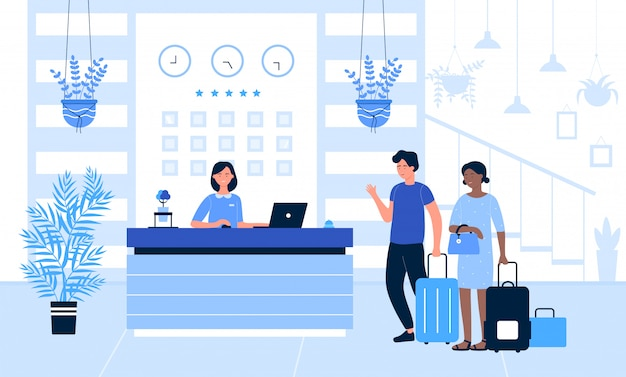 Hotel reception  illustration, cartoon  tourist or traveller people standing at desk in office lobby room interior, talking with receptionist background