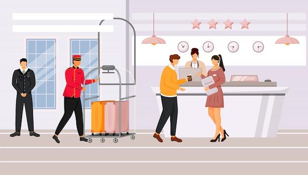 ホテルの受付イラスト。ロビーでリゾートマネージャーと話しているゲスト。登録、待合室。スーツケース付きの手荷物カートを運ぶベルマン