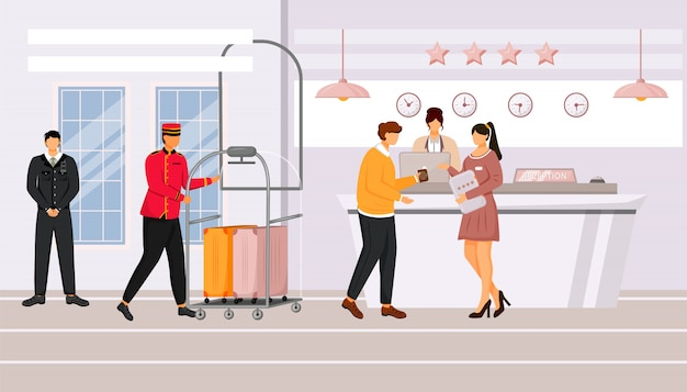 Hotel reception   illustration. guest talking with resort manager in lobby. registration, waiting area. bellman carrying baggage cart with suitcases