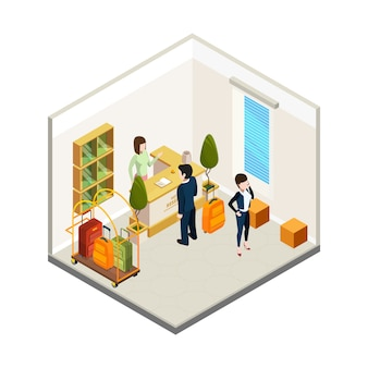 Hotel reception. isometric hostel receptionist tourists. hotel info desk  illustration