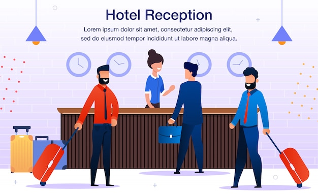 Hotel reception service flat vector promo banner
