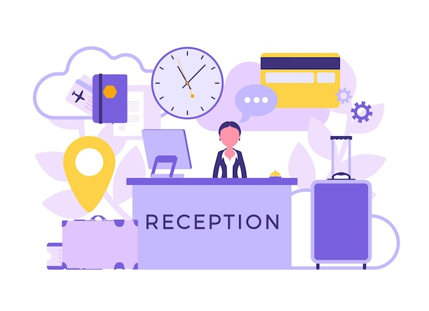 Hotel receptionist in lobby at front desk. woman in reception area, greets, deals with clients, visitors, interior, service for travellers, tourists. vector abstract illustration, faceless characters