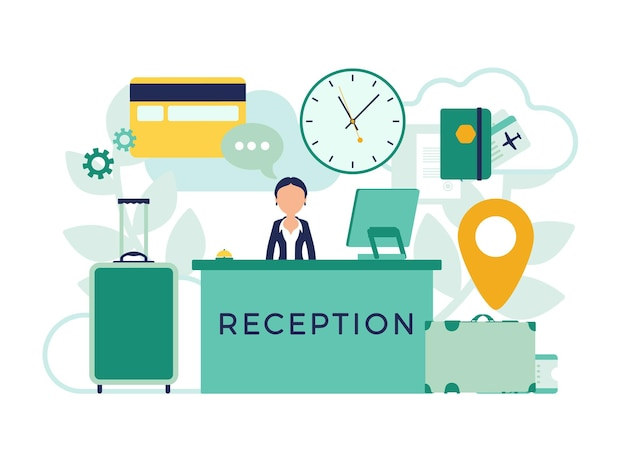 Hotel receptionist in lobby at front desk