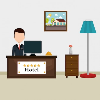 Hotel receptionist working avatar