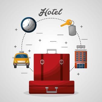 Отель красные чемоданы здание такси часы векторная иллюстрация