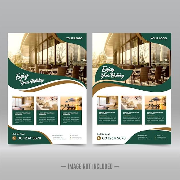 Шаблон оформления флаера отеля и курорта