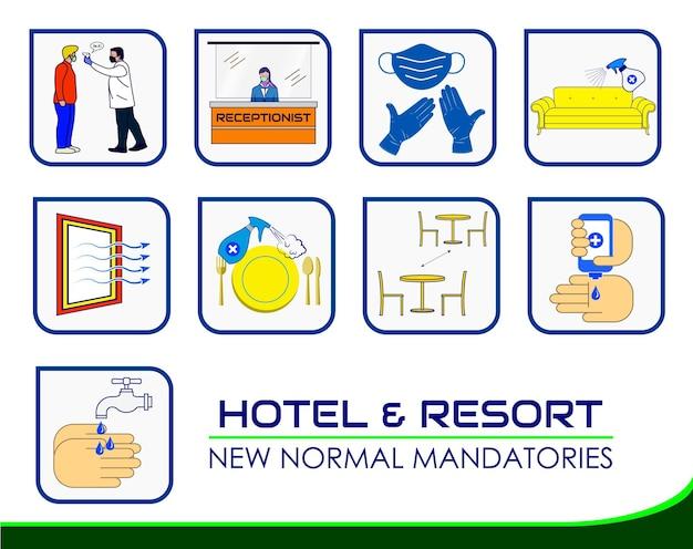 Плакат с новыми правилами курортного отеля или практика общественного здравоохранения для covid19 или протокол по охране здоровья и безопасности