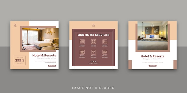 Hotel and resort social media instagram post template