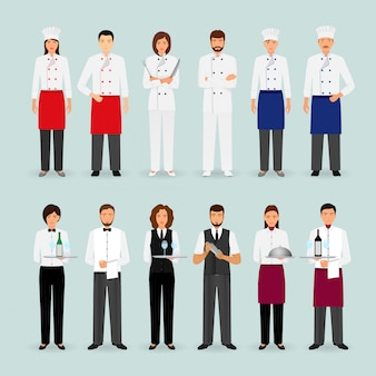 Hotel restaurant male and female team in uniform group of catering service characters standing together welcoming