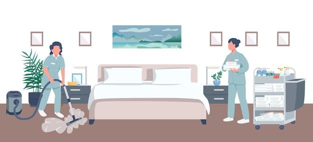 ホテルの部屋の掃除フラットカラー。背景に寝室を持つプロのハウスキーパー2d漫画のキャラクター。女中はシートを交換し、掃除機をかけます。清掃サービス