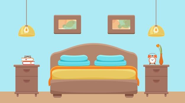 ホテルの部屋のインテリア。寝室のアパートの家具のベッド、ベッドサイドテーブル、ランプのカラフルなイラスト。