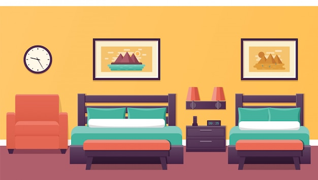 Hotel room interior in .  illustration.