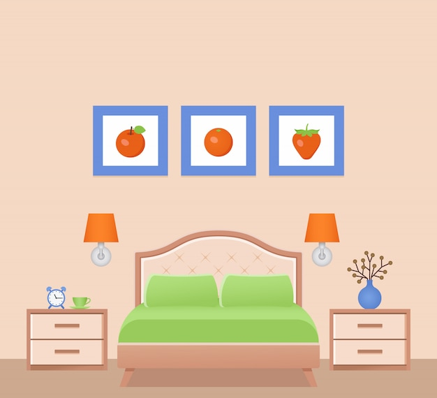 Hotel room interior with bed, bedroom.  illustration.