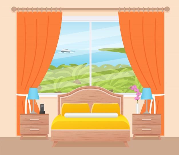 Hotel room interior with ocean landscape window, flat bedroom,
