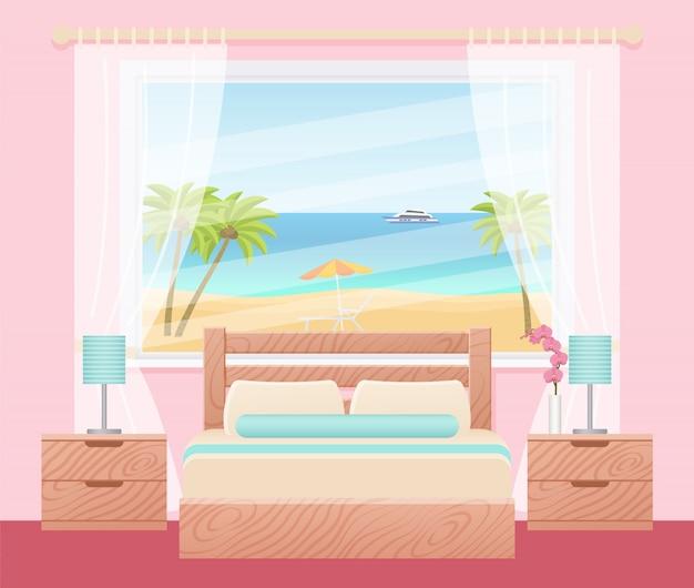바다 풍경 창 호텔 방 인테리어입니다. 삽화. 플랫 침실.