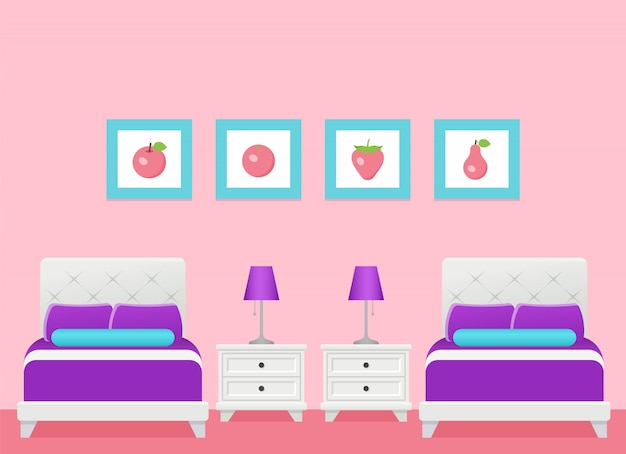 Hotel room interior with two beds, bedroom.  illustration.