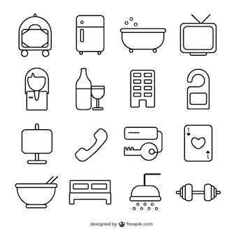 Hotel room line icons Premium Vector