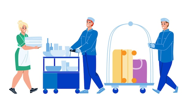Hotel room service servicing client set. woman housemaid carrying linen, man carry food and luggage on cart to apartment.