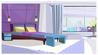 Hotel room with bed in purple color illustration