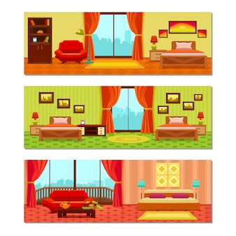 Hotel rooms illustration compositions
