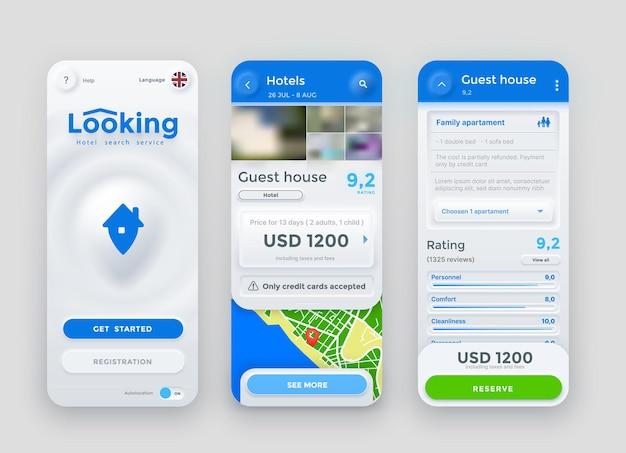 호텔 검색, 예약, 지불 및 예약 서비스 온라인 앱, 벡터 뉴모픽 인터페이스 화면. 스마트폰에서 여행, 호텔 검색 또는 아파트 및 객실 예약을 위한 휴대전화 애플리케이션 ui