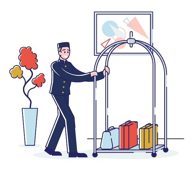 Гостиничный сервис и концепция персонала. портер несет багаж на тележке. мультфильм наброски линейный плоский.