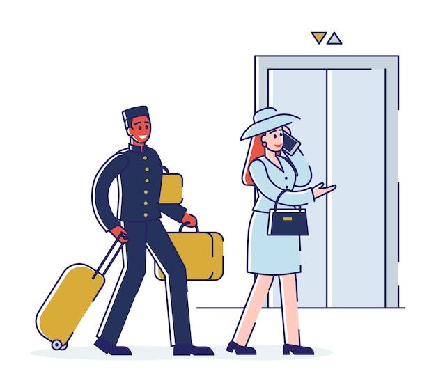 Гостиничный сервис и концепция персонала. портер сопровождает бизнес-леди в апартаменты и несет багаж. мультфильм наброски линейный плоский.