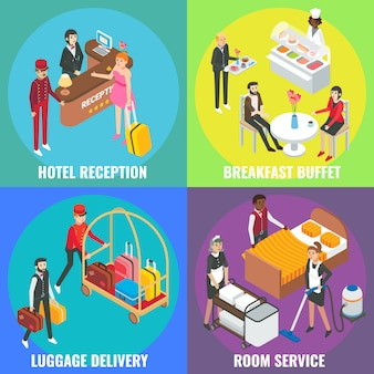 Hotel service concept   flat isometric poster, banner set