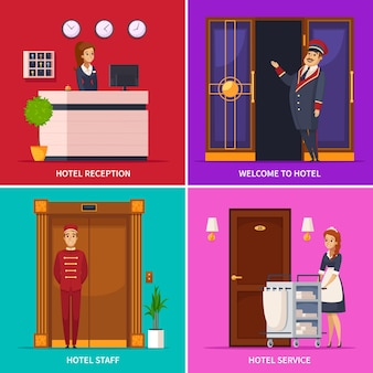 Hotel service concept set of square icons with doorman receptionist chambermaid bellboy cartoon characters