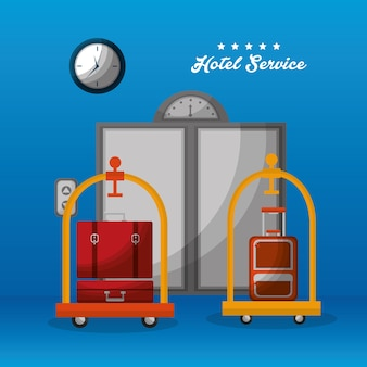 Hotel service doors elevator luggage trolley suitcases